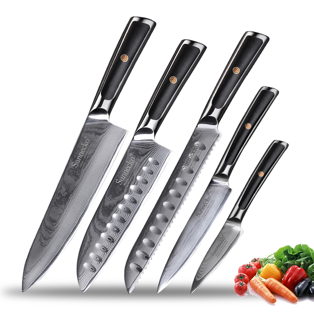 Sunnecko Kitchen Knives Set Japanese VG10 Damascus Steel Razor Sharp Chef's Slicing Utility Paring Bread Santoku Knife Gift Box
