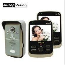 KDB302A 1V2 Wireless Intercom Video Door Phone Smart doorbell 1 Camera and 2 Monitors PIR Take Picture 2 Way Audio remote unlock