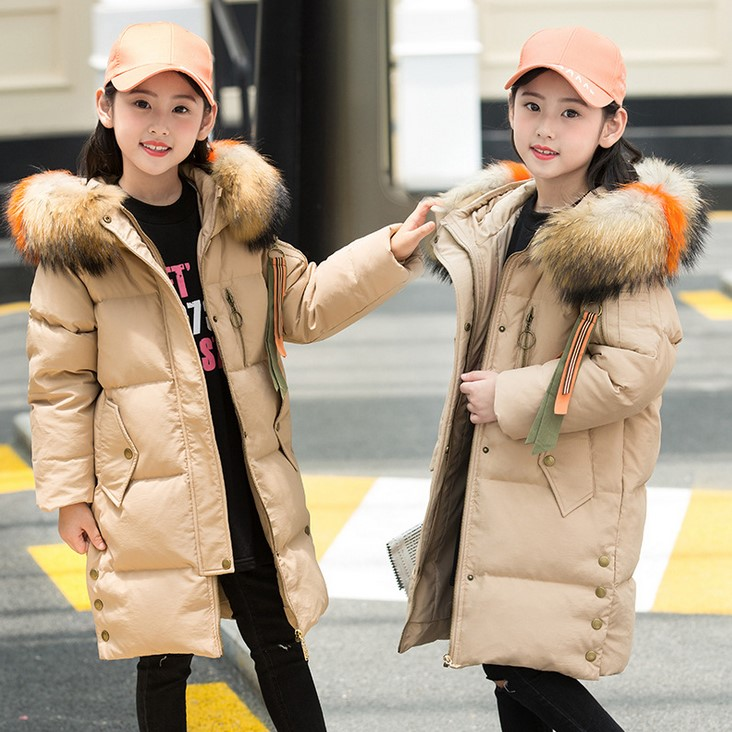 Children's down jacket girls 2018 winter new long section thick Korean version of the foreign style winter coa 2017 winter down jacket male korean version of self cultivation hooded thick in the long fashion trend of youth style downjacket