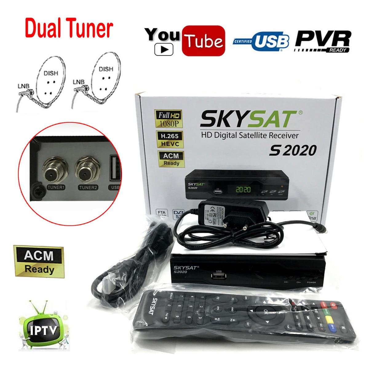 Skysat S2020 Double Plat Jumeaux Tuner H.265 AVC Numérique Récepteur Satellite ACM Soutien IKS SKS ACM/VCM/CCM IPTV VOD avec LAN Wifi