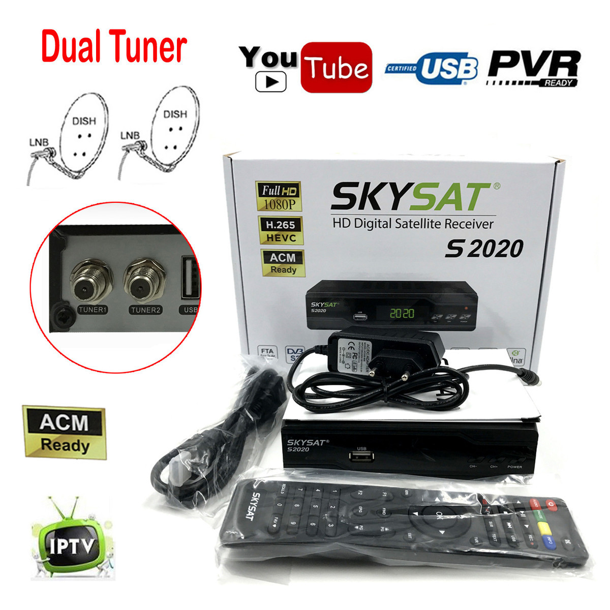 Skysat S2020 Dual Twin Dish Tuner H.265 AVC Digital Satellite Receiver ACM Support IKS SKS ACM/VCM/CCM IPTV VOD with LAN Wifi