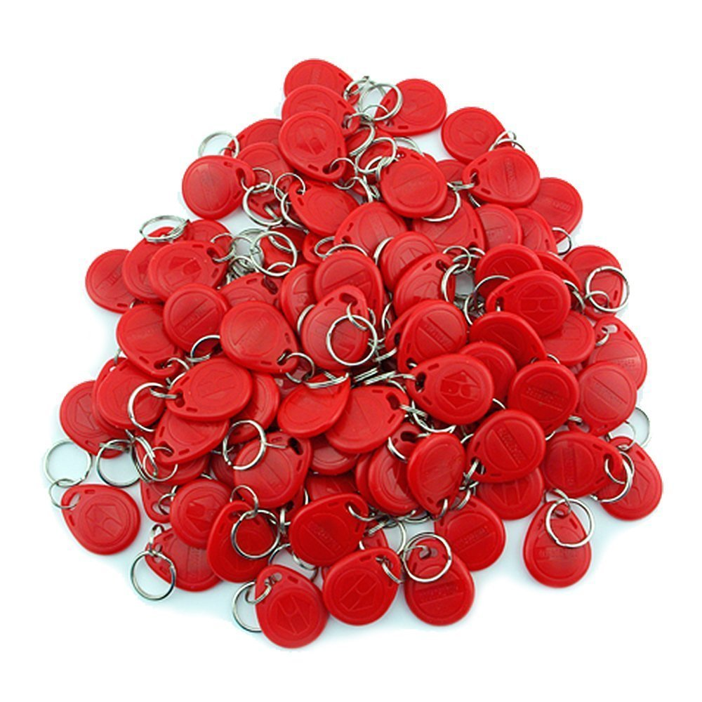 100 pcs 125khz EM4100 Keychains Wholesale New RFID Proximity ID Card Token Tags Key Keyfobs ( Red ) wholesale output usb 125khz em4100 rfid proximity reader 10 key tags
