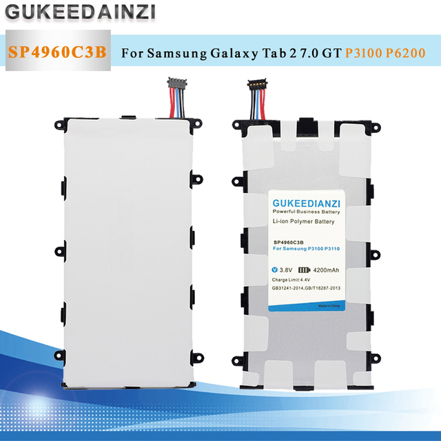 GUKEEDIANZI Tablet Li-Ion Polymer Thay Thế Pin SP4960C3B 4200 mAh Đối Với Samsung GALAXY Tab 2 7.0 GT P3100 P3110 P3113 P6200