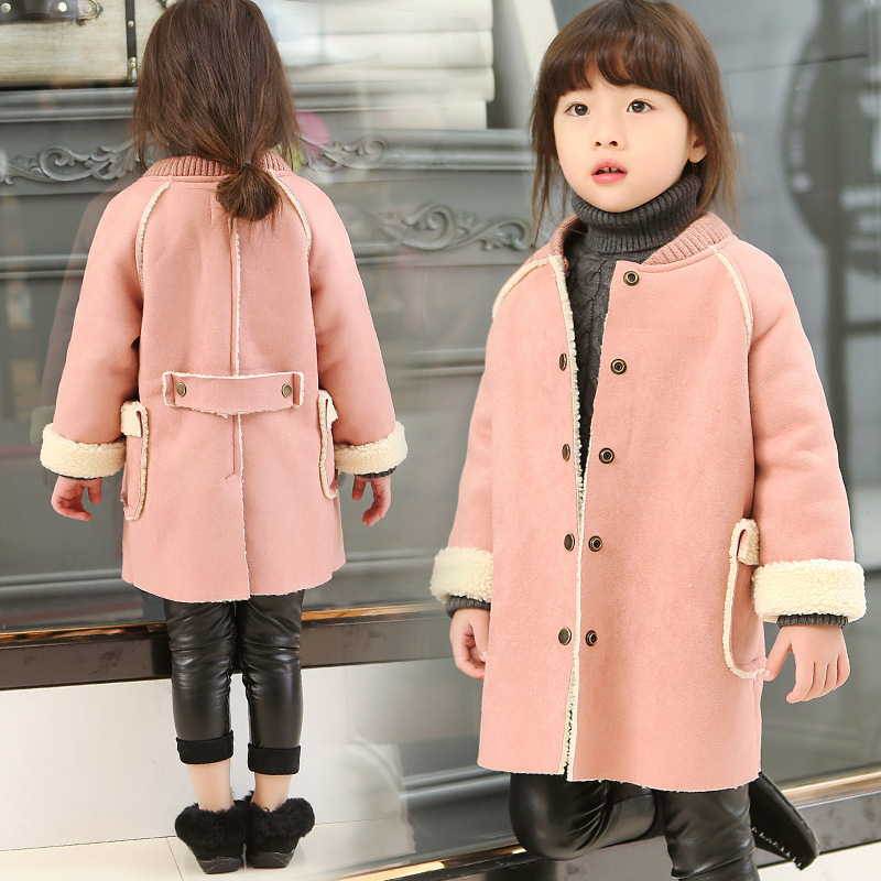 New Toddler Girls Winter Cotton Coat 2016 Micro Suede Children Jackets Mid-long Imitation Lambs Wool Baby Cotton Coats,3-12Y
