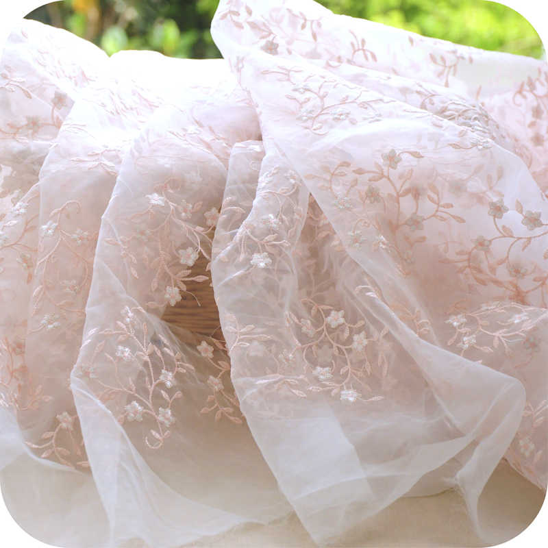 Organza embroidered lace fabric,mesh embroidery fabric,skirt dress material,patchwork cloth,130cmx50cm/PCS