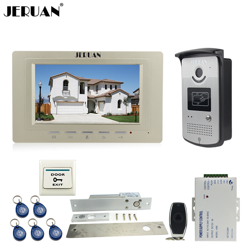 JERUAN Home 7`` LCD screen video door phone Entry intercom system kit 700TVL RFID Access IR Night Vision Camera Exit button jeruan home 7 video door phone intercom system kit 1 white monitor metal 700tvl ir pinhole camera rfid access control in stock
