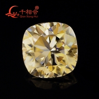 yellow color cushion shape moissanites loose stone by qianxianghui( video is light yellow)