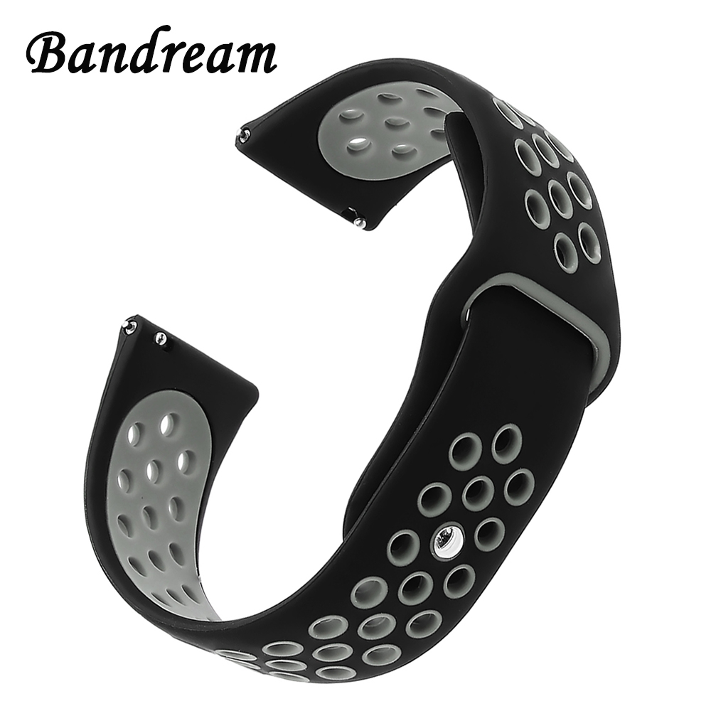 Double Color Silicone Rubber Watchband for Huawei Watch GT Replacement Band Quick Release Strap Wrist Belt Bracelet Black Grey