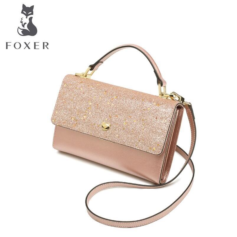 US $101.38 |FOXER Handbag multicolor leather mobile phone bag mini Messenger bag female stars shoulder bag handbag female bag in Top Handle Bags from