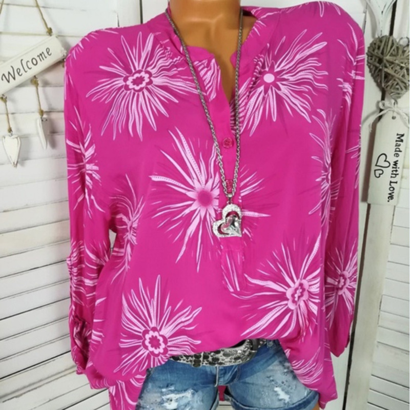 Women Summer Shirts Floral Pattern Stand Collar Long Sleeves Loose V Neck  Tops -MX8