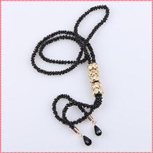 Black & Gold Long Necklace Tassel With Rhinestones & Water Drop Design
