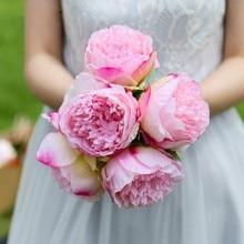 5 European Artificial Peony Flower Decoration Fake Silk Home Hotel Diy Crown Wedding