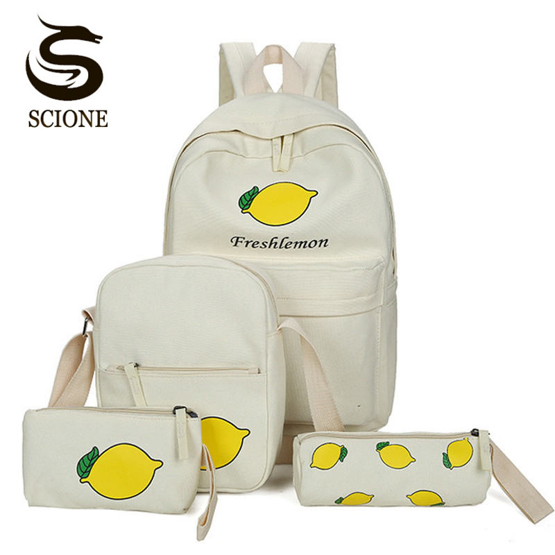 2017 New Women Backpack Canvas School Shoulder Bags Teenager Girls Fresh Style Printing Backpack Set 4PCS Student School Bag