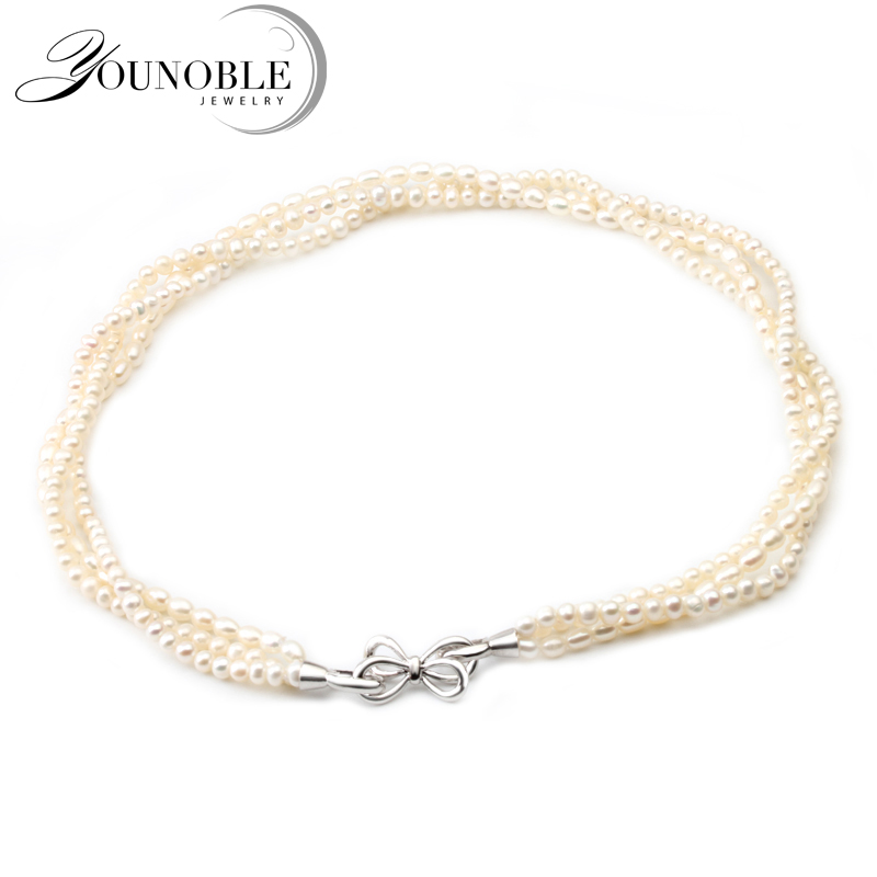 You Noble Real Women Natural Freshwater Pearl Necklace 925 Silver Clasp,Choker Small Multi Layer Necklace Women Collar Jewelry 2 3mm green natural agate choker necklace multi layers 925 silver with real pearl fine womne jewelry wedding party necklace