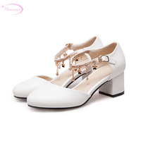 Chainingyee party round toe summer cool sandals chain rhinestone belt buckle white beige pink thick high heel women's shoes