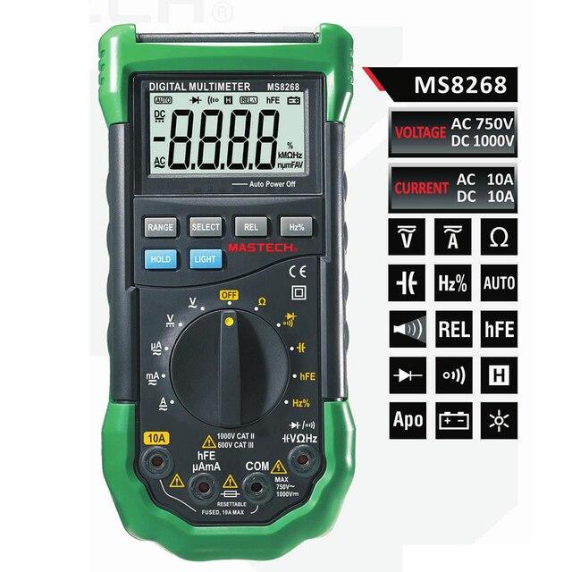 Mastech MS8268 Авто Диапазон Цифровой мультиметр Полная защита ac/dc Амперметр Вольтметр Ом Частотный Электрический Тесты er диода Тесты