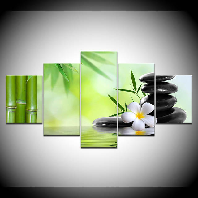 Us 529 46 Offbamboo Zen Stones Wallpaper 5 Piece Wallpapers Modern Modular Poster Art Canvas Painting For Living Room Home Decor In Painting