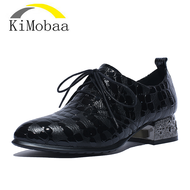 Kimobaa Brogue Shoes Women's Shoes Lace up Vintage Low Heel Plus Size 34-42 Black Genuine Footwear Leather Free Shipping  TX140 genuine replacement 3 lcd screen module for sony tx1 tx5 t99 t110 without backlight