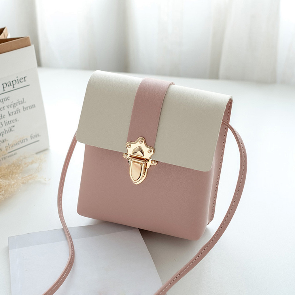 Fashion Women Leather Plug Lock Hit Color Shoulder Bags Coin Bag Contrast leather shoulder purse shoulder bag