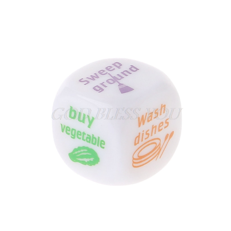 20mm Acrylic Family Dice Housework Allocation Wash Clothes Cooking Couple Game