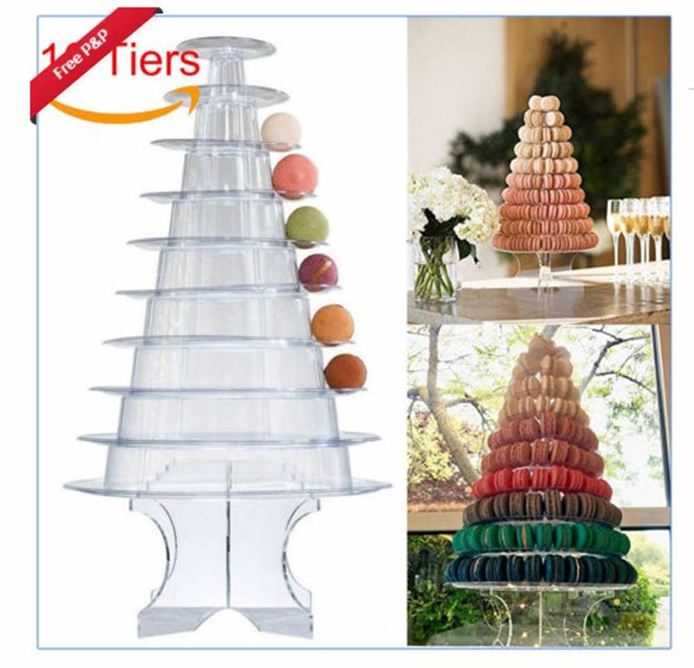 Christmas Tree Display Stand.4 6 10 Tier Macaron Display Stand Round Macaron Tower Cake Stand Pvc Tray Display Rack Wedding Birthday Cake Decorating Tools