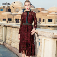POKWAI 2017 Autumn Vintage Sexy Hollow Out Lace Dress Women Fashion High Quality Long Sleeve Retro Slim Asymmetrical Dresses