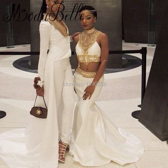 7c09be62685 modabelle Beaded Rhinestone White And Gold Mermaid Prom Dress Black Girl  2017 African High Neck 2 Piece Evening Formal Gowns