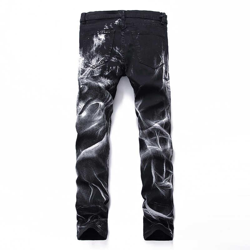 Gersri النادي الليلي رجل 3D الطباعة الجينز الأسود الذئب نمط مطبوعة الشرير سليم مستقيم القطن عارضة طباعة الدنيم السراويل زائد حجم