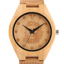 Fashion Top Bamboo Wooden Watches Che Guevara Pattern Analog Genuine Leather Ban
