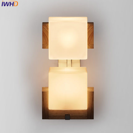 IWHD Wood LED Wall Lights For Home Lighting Creative Square Glass Wall Light 2 Heads Wandlamp Bedroom Stair Lamparas de pared novelty led wall lamps glass ball wall lights for home decor e27 ac220v