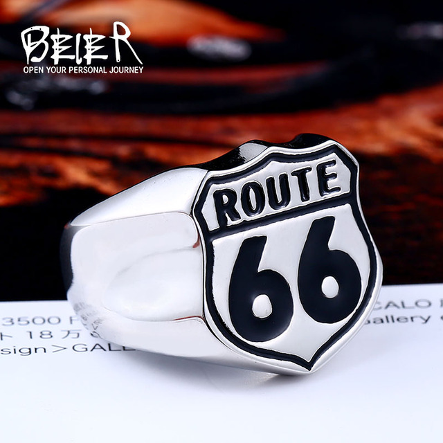Beier new store 316L Stainless Steel ring high quality USA Biker Road ROUTE 66 R