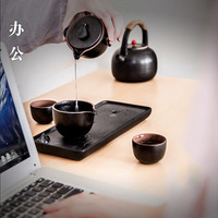 Ceramic portable travel kung fu tea cups set, traditional Chinese style pottery tea cups 4PCS for one set