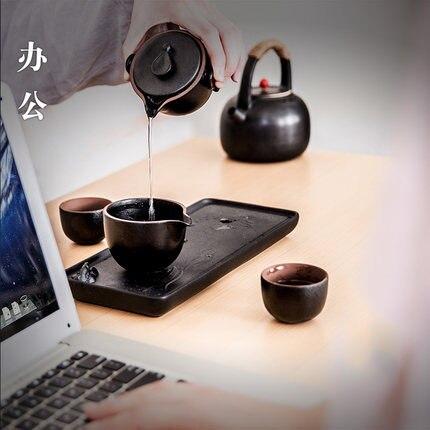 Ensemble de tasses à thé de kung fu de voyage portatif en céramique, tasses à thé traditionnelles de poterie de style chinois 4 pièces pour un ensemble