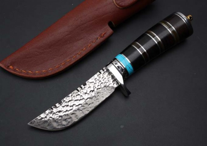 Buy Toplu Damascus Hunting Fixed Blade Knives Ebony+Ox Horn Handle Outdoor Straight Knives Utility Survival Knife Camp Rescue EDC cheap