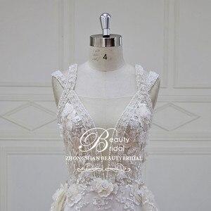 Image 4 - Elegant Detachable Train Wedding Dresses Custom made Lace Pearls Sleeveless Mermaid Wedding Dress  Vestido de Noiva  XF17011