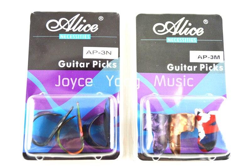 Alice Fingerstyle Guitar Picks Thumb Finger Picks Pearl Celluloid Guitar Picks Clamshell Free Shipping alice plastic guitar picks 12 pack