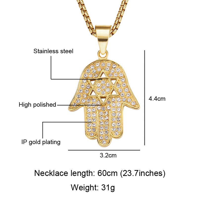 HIP Hop Bling Ice Out oczu Fatima Palm naszyjnik dla mężczyzn złoty kolor 316L Amulet ze stali nierdzewnej wisiorki naszyjniki muzułmańskie biżuteria