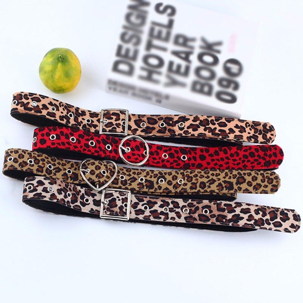 Women New Belt Cummerbund Horsehair Belt With Leopard Pattern Metal Heart Circle Buckle Belt