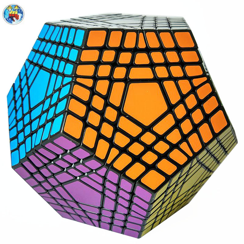 Shengshou Teraminx 7x7x7 Megaminx Black Magic Twist Puzzle Educational Gifts Toys For Children Kids Magic Cube 83mm black and white grid curve7x7x7 speed magic cubes puzzle game educational toys for kids children baby