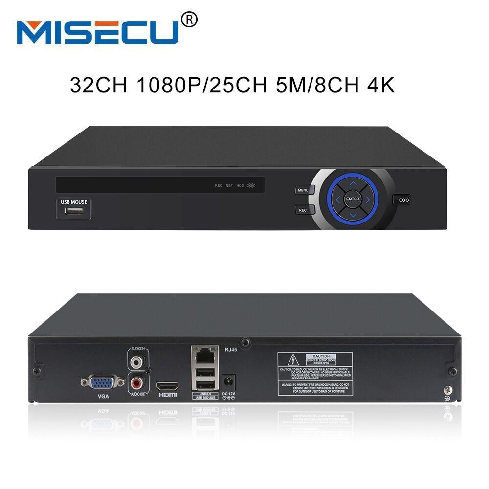 MISECU H.265 Full HD 1080P CCTV NVR 32CH HI3536 Processor Security Network Recorder 25CH 5M NVR Support Wifi 4G RTSP 8CH 4K