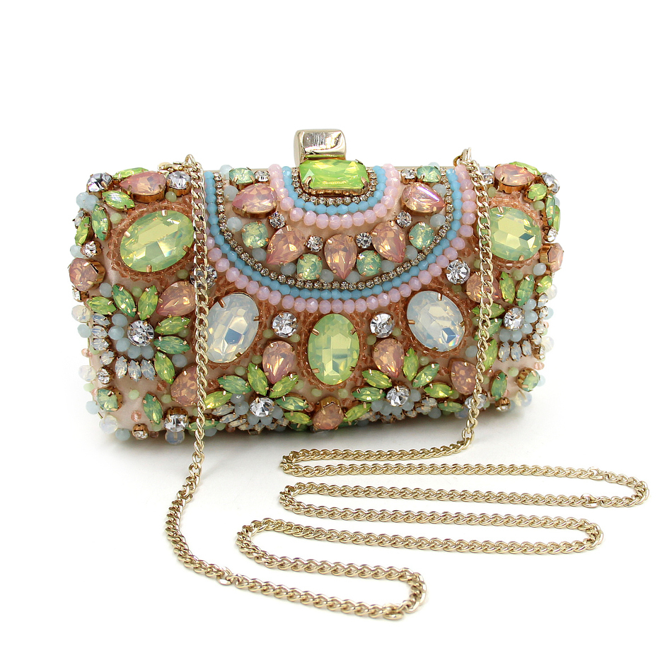 ФОТО Mystic River Designer Party Clutch Purse Beaded Clutches Green Handbags Small Luxury Bags Women Banquet Evening Bag With Chain