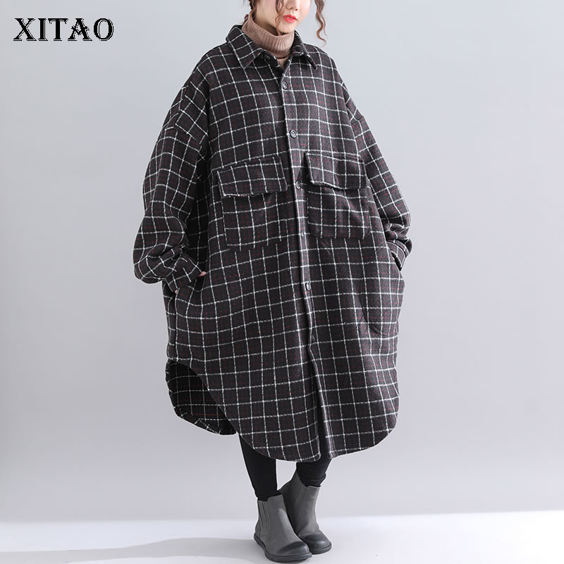 Lâche Unique 2018 Lyh1510 Mode down xitao Femelle Turn Casual Long Plaid Collar Corée Manteau De Automne Mélange Black Poitrine Femmes UqxYxRP