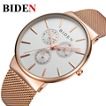 Top Luxury brand BIDEN Watches men Stainless Steel Mesh strap band Quartz-watch Fashion simple stylish thin Dial Clock man 2016
