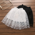 Everweekend Girls Dots Tutu Lace Skirts Ruffles White and Black Color Princess Holiday Party Skirts