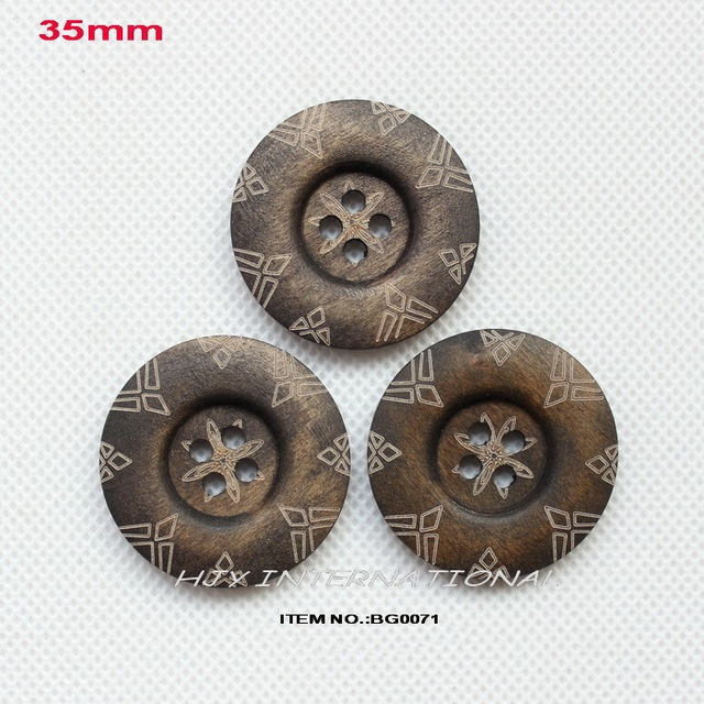(50pcs/lot) 35mm 4 holes round large wooden buttons bulk crafts accessories sewing woo button -BG0071