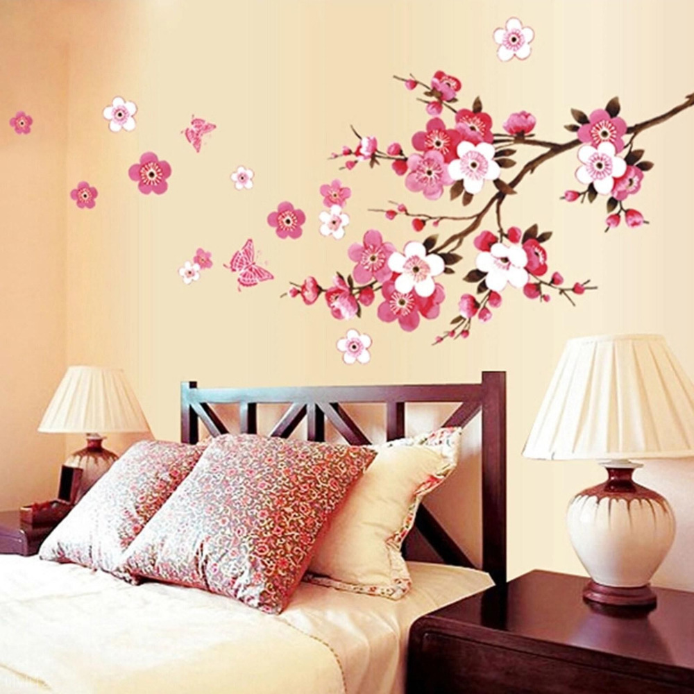 New Room DIY Room Peach Blossom Flower Butterfly Wall Stickers Vinyl Art  Decals Decor Mural   Romantic Flora Wedding Decoration. Flora Decore Promotion Shop for Promotional Flora Decore on