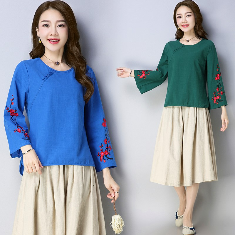 Flare Sleeve Ethnic Style Embroidery Women Tops Cotton And Linen Chinese Style Ethnic Shirt Full Sleeves Tops For Women