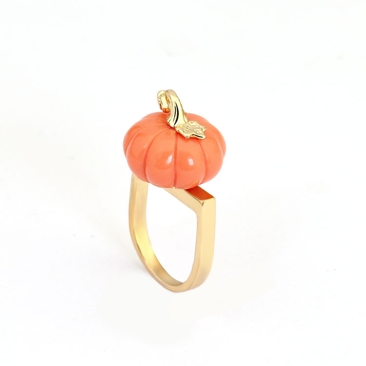 Orange Color Pumpkin Ring Elegant Noble Luxury Jewelry Enamel Glaze Ring bague Aneis-in Rings from Jewelry & Accessories