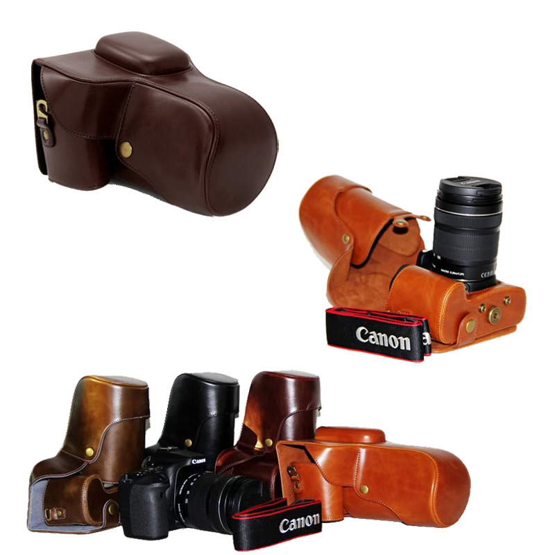 New Pu Leather Video Camera Bag Case For Canon EOS 1100D 1200D 1300D 550D with18-55/105/200mm Lens Retro Vintage Camera Bag цена и фото