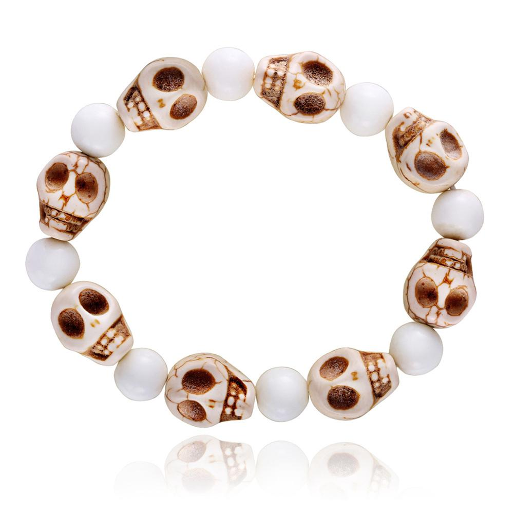 Natural White Bracelet Beads Charms Carving Skull Bangle Punk Jewelry